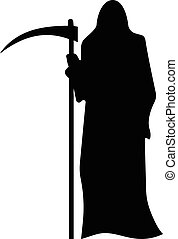 Death with a scythe silhouette isolated on white background