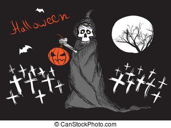 Death with pumpkin