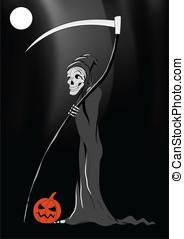 Death with pumpkin Halloween black vector background