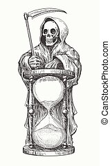 Death in hood with with a scythe and hourglass. Vector illustration in engraving style.