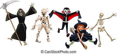 Death with scythe, mummy, dracula vampire, witch on broomstick and skeleton
