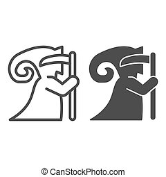 Death with scythe sideways line and solid icon, halloween concept, grim reaper sign on white background, scytheman icon in outline style for mobile concept and web design. Vector graphics.