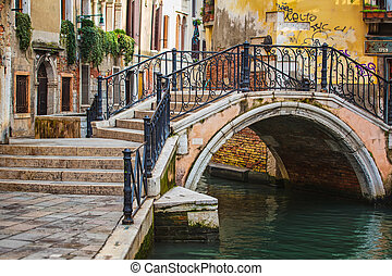 Deatil old architecture in Venice - Narrow canal among old ...