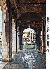 Deatil old architecture in Venice - Narrow canal among old...