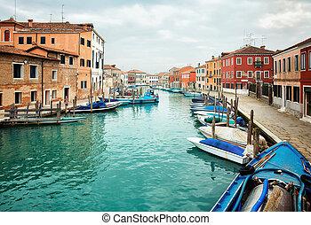 Deatil old architectureon island Murano in Venice