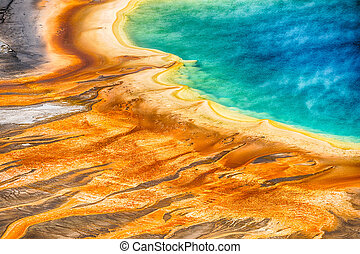 Grand Prismatic Spring - Deatiled photo of Grand Prismatic...