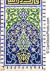 Samarkand - Deatils of the decoration at the Sher Dor...
