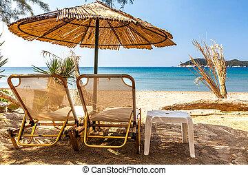 debajo, andaman, parasol, mar, vacaciones