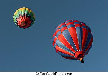 debajo, caliente, globos, dos, aire