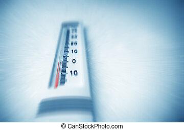 debajo, cero, en, thermometer.