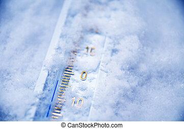 debajo, cero, termómetro