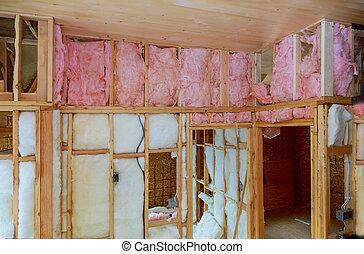 debajo, de madera, aislamiento, dentro, calor, casa, construcción, lana, edificio, pared, mineral