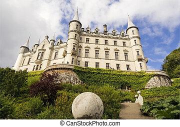 debajo, dunrobin, escocia, castillo, vista