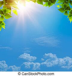 debajo, el, azul, skies., resumen, natural, fondos, para, su, diseño