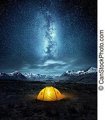 debajo, estrellas, campamento