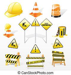 debajo, iconos, conjunto construcción