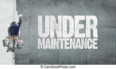 debajo, mantenimiento, pared