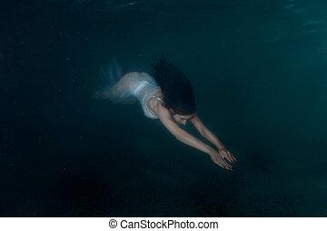 debajo, mujer, sirena, water.