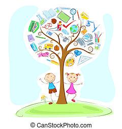 debajo, niños, árbol, sabiduría