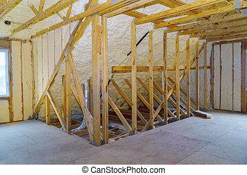 debajo, pared, inacabado, albergue construcción, aislamiento, ático, espuma, techado