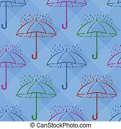 debajo, plano de fondo, paraguas, seamless, lluvia