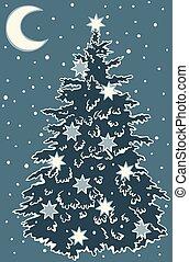 debajo, postal, árbol, illustration., snow., año, navidad, ...