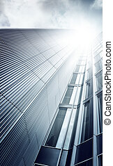 debajo, rascacielos, futurista