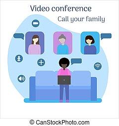 debajo, su, conferencia, quarantine., llamada, vídeo, family.