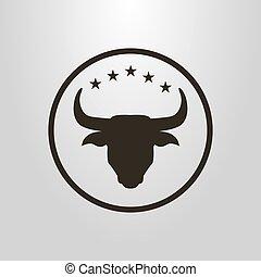 debajo, vector, cabeza, estrellas, redondo, marco, toro, símbolo, simple, cinco