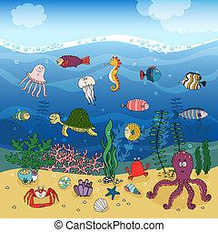 debajo, vida submarina, océano ondea