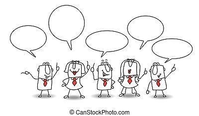 debate - Businessmen and a businesswomen are talking...
