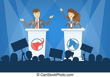 Debate concept. Candidate for president at the tribune. Political speech. Presidential election. Isolated vector illustration in cartoon style