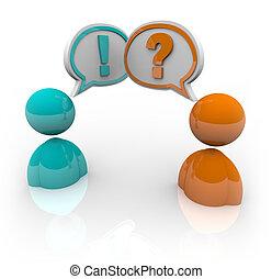 debate, -, duas pessoas, falando, diferente, opitnions
