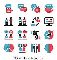 debate icon set - debate and dispute icon set,vector and...
