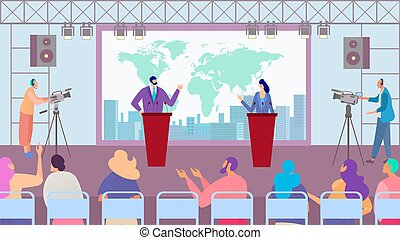 Debate of political party candidates, election campaign, people cartoon characters, vector illustration
