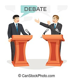 Debate poster with two politicians on vector illustration -...