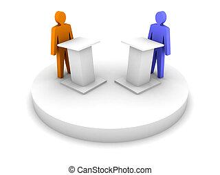 Debate. Speaking from a tribune