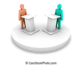 debate., tribun, mluvení