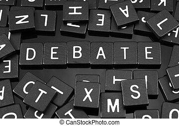 """debate"", tuiles, mot, noir, lettre, orthographe"