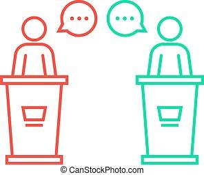 debates between candidates. concept of pr, 2016 usa voting,...