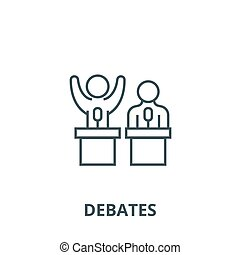 Debates, lecture, cogency, persuasion line icon, vector. ...