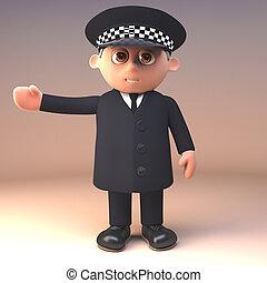 deber, derecho, policía, ilustración, uniforme, gestos, ...