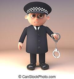 deber, esposas, policía, ilustración, uniforme, oficial, ...