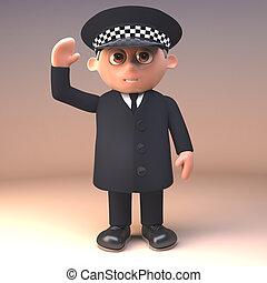 deber, hola, policía, saludo, ilustración, uniforme, alegre...