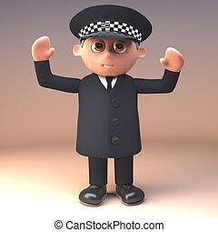 deber, llevando, policía, aire, arriba, ilustración, brazos...