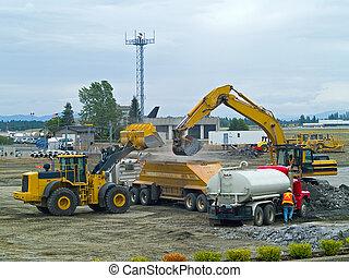 deber pesado, equipo construcción, en el trabajo, sitio