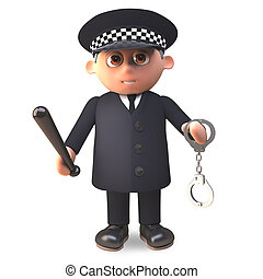 deber, policía, blandir, esposas, ilustración, uniforme, ...