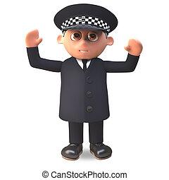 deber, policía, brazos, aplausos, uniforme, ilustración, 3d...