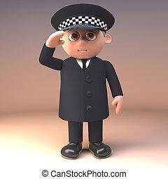deber, policía, estantes, atención, ilustración, uniforme, ...
