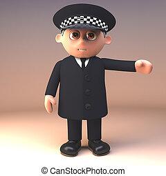 deber, policía, ilustración, uniforme, gestos, oficial, ...